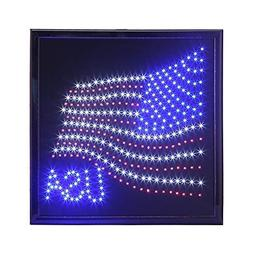 LED American Flag Sign,Anrookie  American Flag LED Lighted S