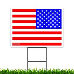 "24"" x 18"" American Flag Yard Sign with Metal Stake"