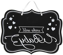 Amscam Weeks Until Baby Chalkboard Sign With Ribbon Hanger,