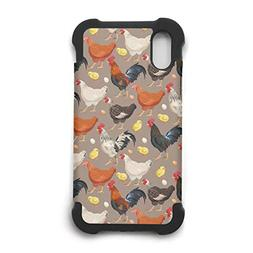 Apple iPhone X Case,Brown Farm Rooster and Hen Dual Layer Sl