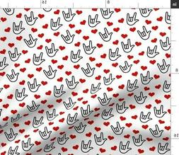 Asl Sign Language I Love You Fabric Printed by Spoonflower B