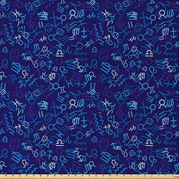 Ambesonne Astrology Fabric by The Yard, Blue Pattern with Zo