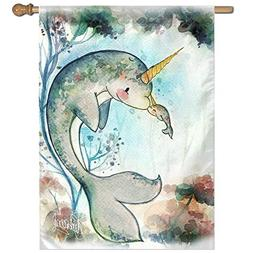 Baby Narwhal Whale Unicorn Kisses Home Garden Sign Decorated