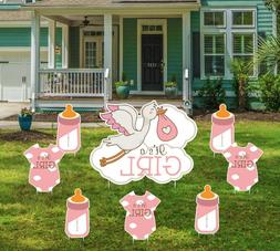 Baby Shower Lawn Yard Sign It's A Girl Pink Birth Announceme