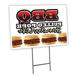 Bbq Pulled Pork Yard Sign & Stake outdoor plastic coroplast