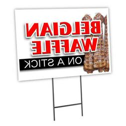 """BELGIAN WAFFLE ON A STICK 12""""x16"""" Yard Sign & Stake outdoor"""