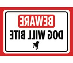 Beware Dog Will Bite Print Red White Black Poster Symbol Pic