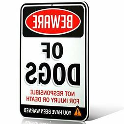 Beware of Dogs Sign Dogs Aluminum Metal Fence Yard Warning S
