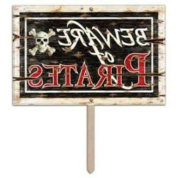 Beware Of Pirates 3-D Art Form Yard Sign Birthday Party Deco