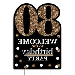 Big Dot of Happiness Adult 80th Birthday - Gold - Party Deco