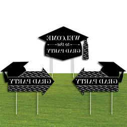 Big Dot of Happiness Black Grad Party Yard Signs – 2 Gradu