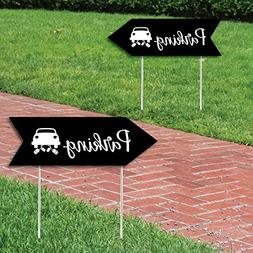 Black Wedding Parking Signs - Wedding Sign Arrow - Double Si