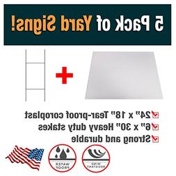 5 Pack of Blank Yard Signs - Made with Tear-Proof 18x24 inch