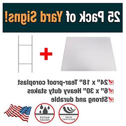 25 Pack of Blank Yard Signs - Made with Tear-Proof 18x24 Inc