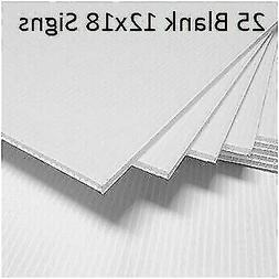 Box of 25 White 12x18 Blank Lawn/Yard Signs Corrugated Plast
