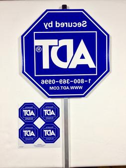 BRAND NEW ADT SECURITY ALARM YARD SIGN & 4 DOUBLE SIDED STIC