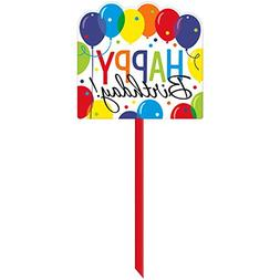 Amscan Brilliant Balloon Bash Yard Sign  Birthday, Multicolo