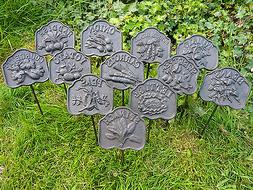cast iron metal vegetable garden plant marker