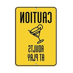 Caution Adults At Play Traffic Funny Yard Decorative Signs f
