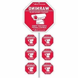 """CCTV Security Camera Sign With Stake """" 6 Decals Great Securt"""