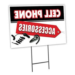 "CELL PHONE ACCESSORIES 12""x16"" Yard Sign & Stake outdoor pla"