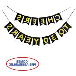 Cheers to 30 Years Banner - Happy 30th Birthday Party Decora