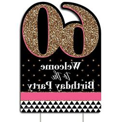 Big Dot of Happiness Chic 60th Birthday - Pink, Black and Go