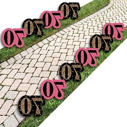 Chic 70th Birthday - Pink, Black and Gold Lawn Decorations -