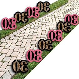 Chic 30th Birthday - Pink, Black and Gold Lawn Decorations -