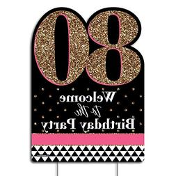 Big Dot of Happiness Chic 80th Birthday - Pink, Black and Go