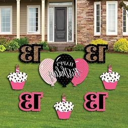 Chic 13th Birthday - Pink, Black and Gold - Yard Sign & Outd