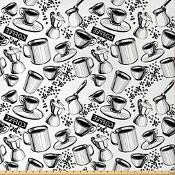 Lunarable Coffee Fabric by The Yard, Abstract Monochrome Cof