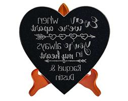 Couples Anniversary Heart Plaque for Lovebirds Husband Wife