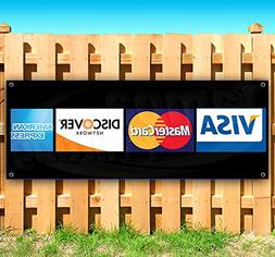 Credit Cards Logos 13 oz Heavy Duty Vinyl Banner Sign with M