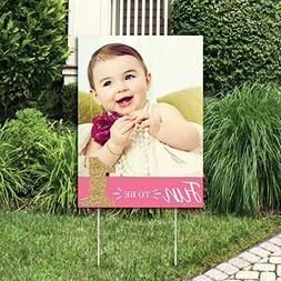 Big Dot of Happiness Custom 1st Birthday Girl - Fun to be On