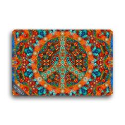 Custom Peace Sign Tie Dye Doormat Cover Rug Outdoor Indoor F