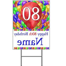 Partypro 80TH CUSTOMIZED BALLOON BLAST YARD SIGN By