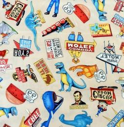 """1 Yard Pre-Cut - """"Get Your Kicks"""" Route 66 Fabric 100% Cotto"""