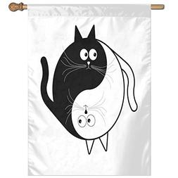 HUANGLING Cute Cats Cuddle Hugging Unity Ying Yang Sign Cart