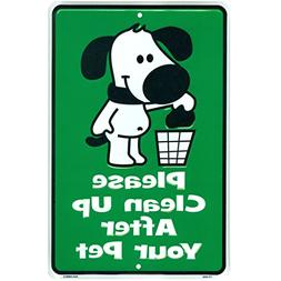 Cute No Dogs Pooping Sign, Please Clean Up After Your Pet, N