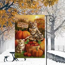 Cute Fall Welcome Garden Flag Autumn Garden Kittens Cats Pum