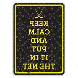 Decorative Sign Keep Calm And Put It In The Net Yellow On Bl