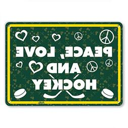 Ballkleid Decorative Sign Peace Love Hockey Yellow White On