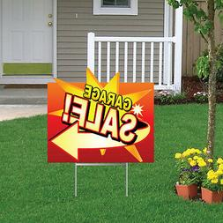 "Die Cut Garage Sale Yard Sign Set of 2 - 18""x24"" & 4 EZ Stak"