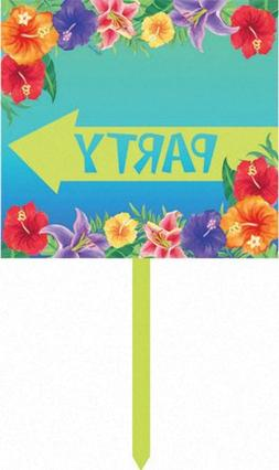 Creative Converting Directional Yard Sign, Luau Hibiscus Hea