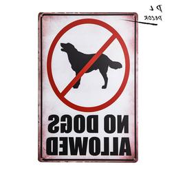 dl no dogs allowed print red white