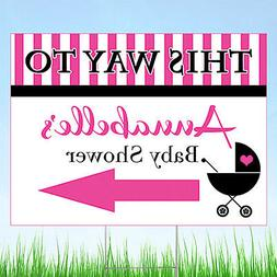Pink Baby Carriage Baby Shower Personalized Yard Sign, Baby