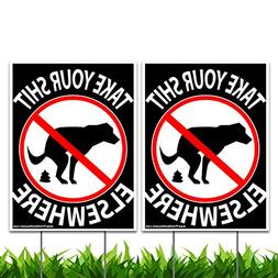 "Vibe Ink 9"" x 12"" No Dog Pooping Yard Sign - Take Your Shit"