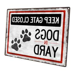 Dogs in Yard Metal Sign; Wall Decor for Porch, Patio, or Dec