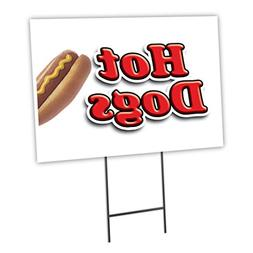 "HOT DOGS 1 18""x24"" Yard Sign & Stake hot dog cart outdoor pl"